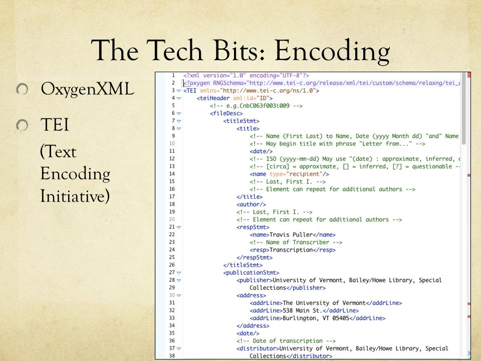 The Tech Bits: Encoding OxygenXML TEI (Text Encoding Initiative)