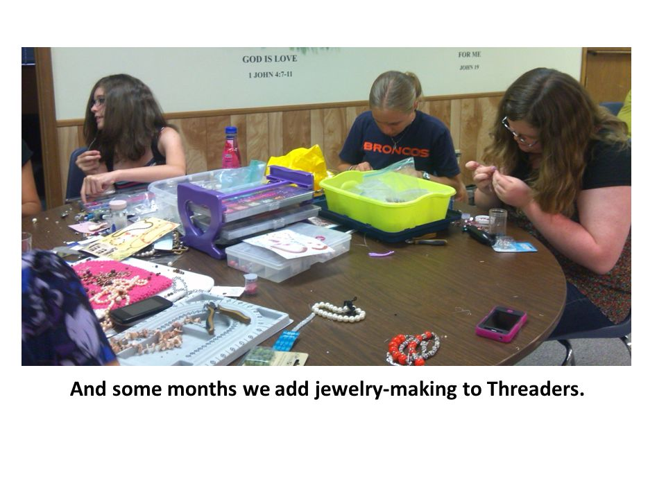 Sharing jewelry-making ideas.