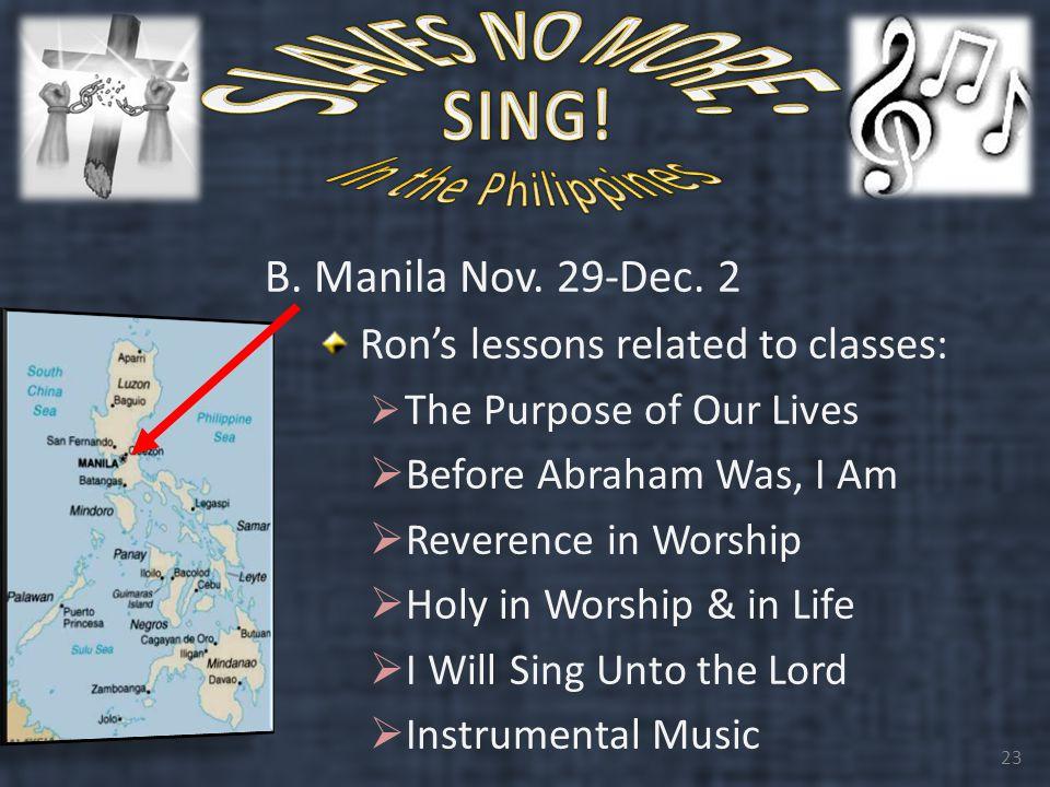 B. Manila Nov. 29-Dec.