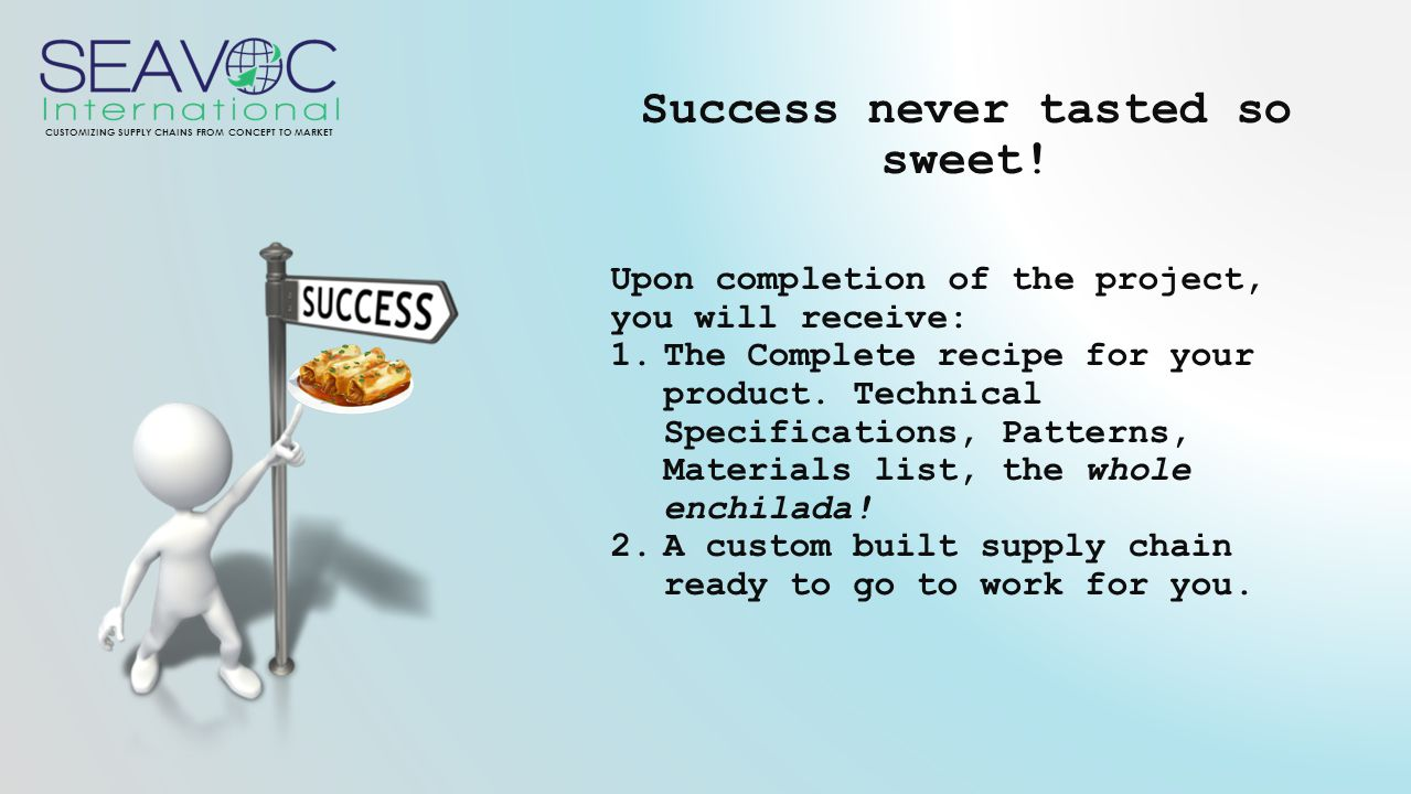 CUSTOMIZING SUPPLY CHAINS FROM CONCEPT TO MARKET Success never tasted so sweet.