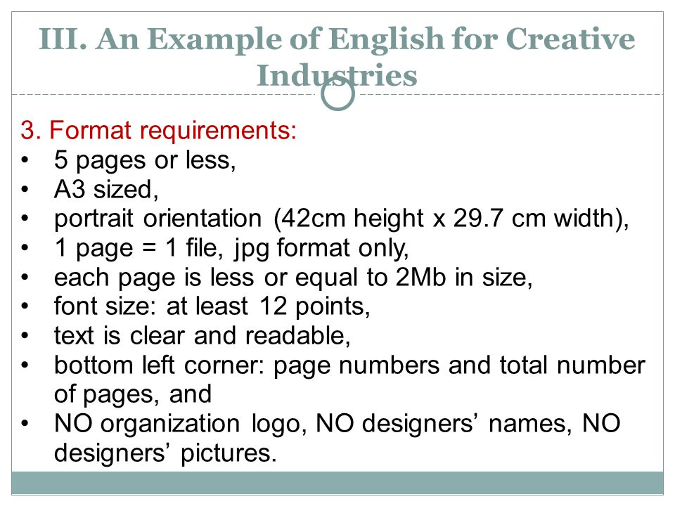 III.An Example of English for Creative Industries 3.