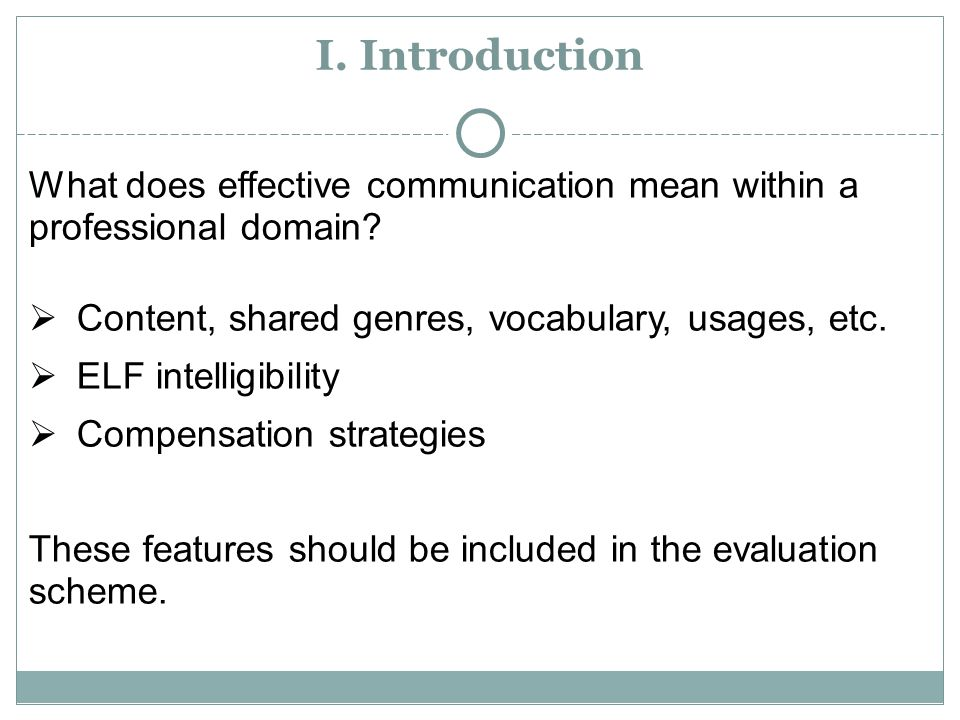 I.Introduction What does effective communication mean within a professional domain.