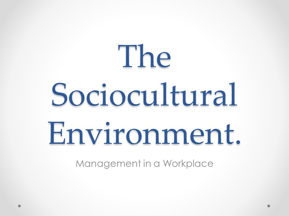 The Sociocultural Environment. Management in a Workplace