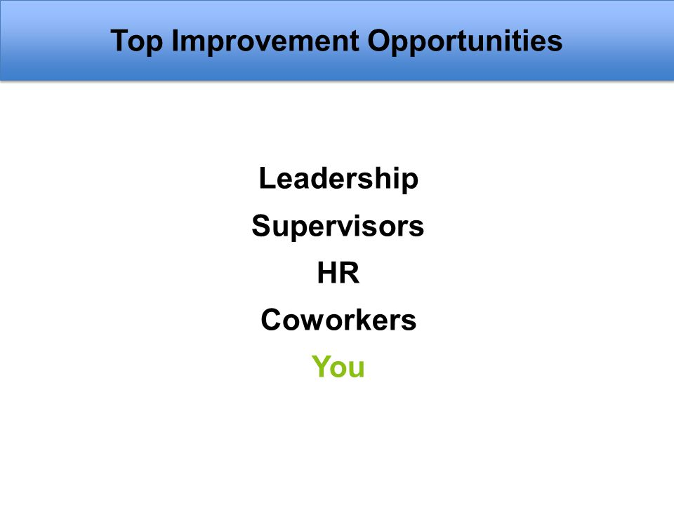 Top Improvement Opportunities Leadership Supervisors HR Coworkers You