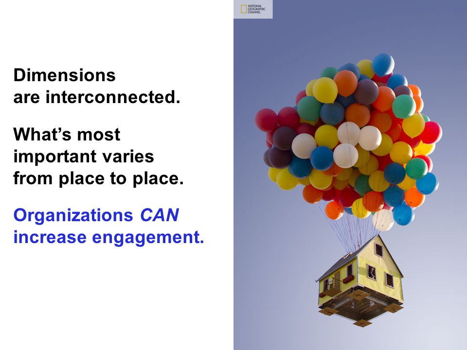Dimensions are interconnected. What's most important varies from place to place. Organizations CAN increase engagement.