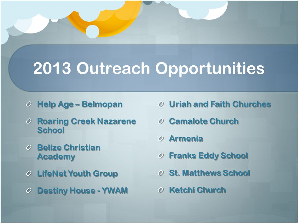 2013 Outreach Opportunities Help Age – Belmopan Roaring Creek Nazarene School Belize Christian Academy LifeNet Youth Group Destiny House - YWAM Uriah