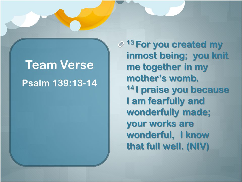Team Verse 13 For you created my inmost being; you knit me together in my mother's womb.