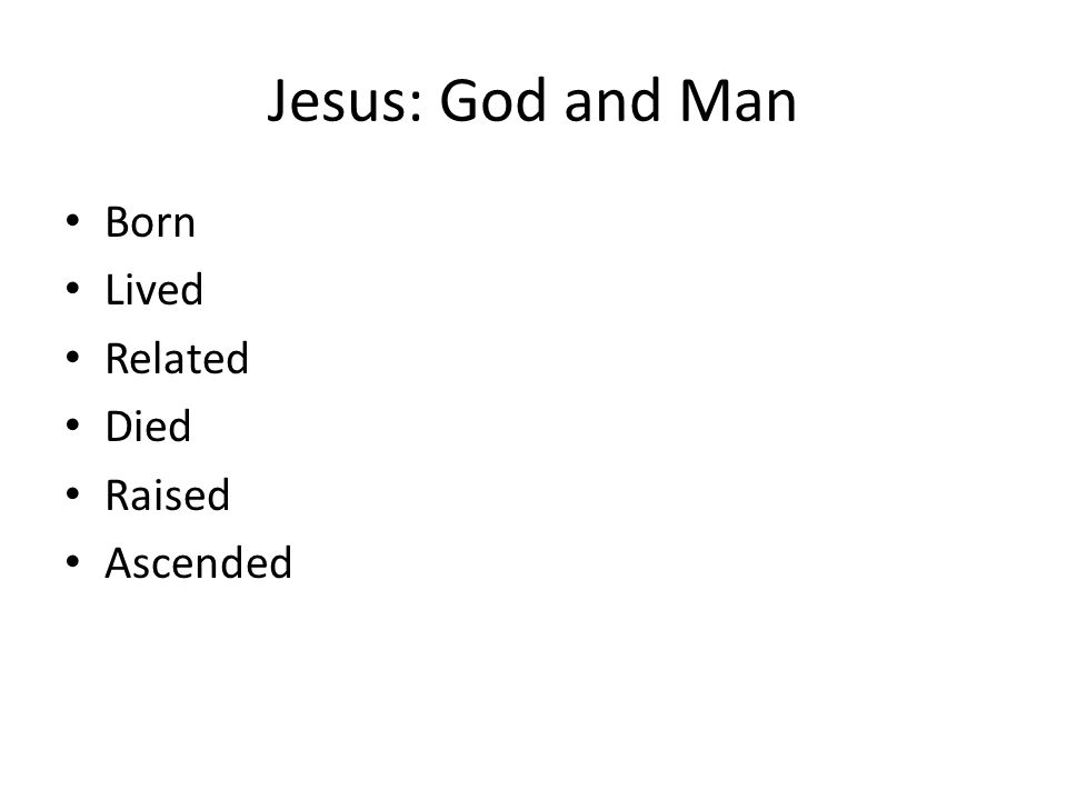 Jesus: God and Man Born Lived Related Died Raised Ascended