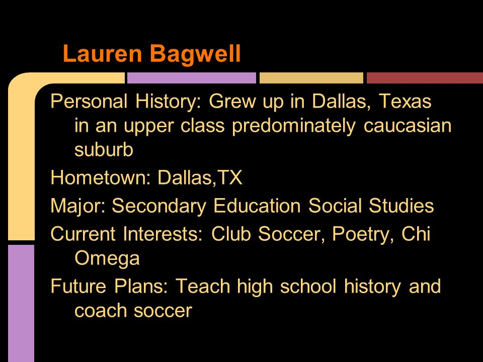Personal History: Grew up in Dallas, Texas in an upper class predominately caucasian suburb Hometown: Dallas,TX Major: Secondary Education Social Studies Current Interests: Club Soccer, Poetry, Chi Omega Future Plans: Teach high school history and coach soccer Lauren Bagwell