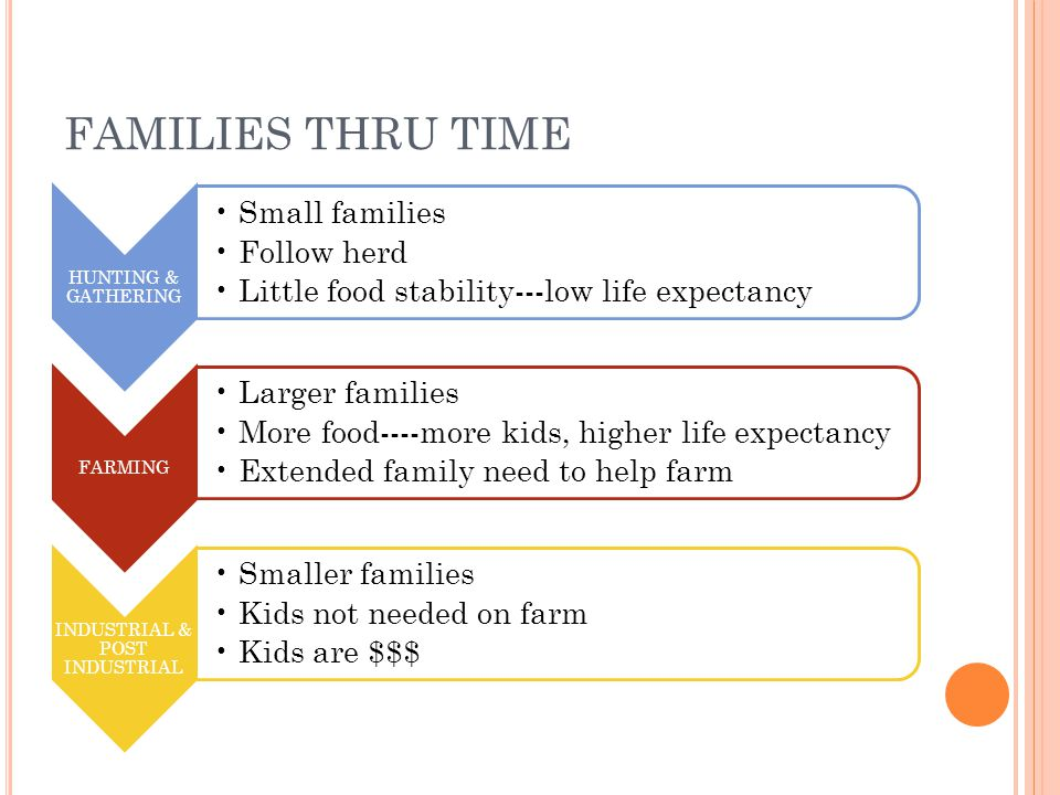 FAMILIES THRU TIME HUNTING & GATHERING Small families Follow herd Little food stability---low life expectancy FARMING Larger families More food----more kids, higher life expectancy Extended family need to help farm INDUSTRIAL & POST INDUSTRIAL Smaller families Kids not needed on farm Kids are $$$