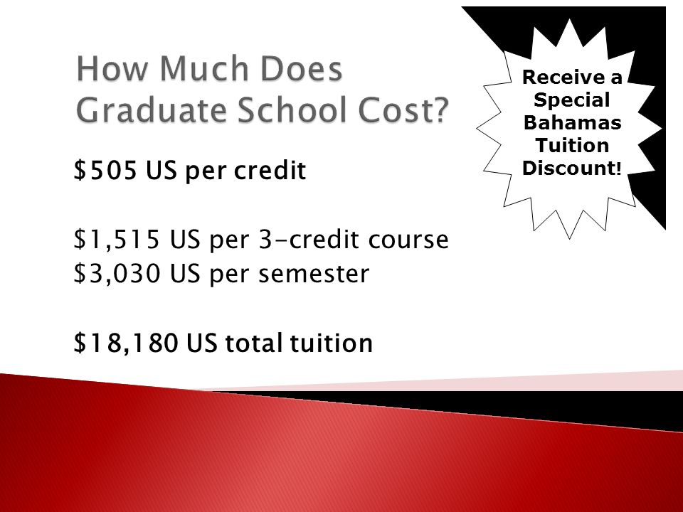 $505 US per credit $1,515 US per 3-credit course $3,030 US per semester $18,180 US total tuition Receive a Special Bahamas Tuition Discount !