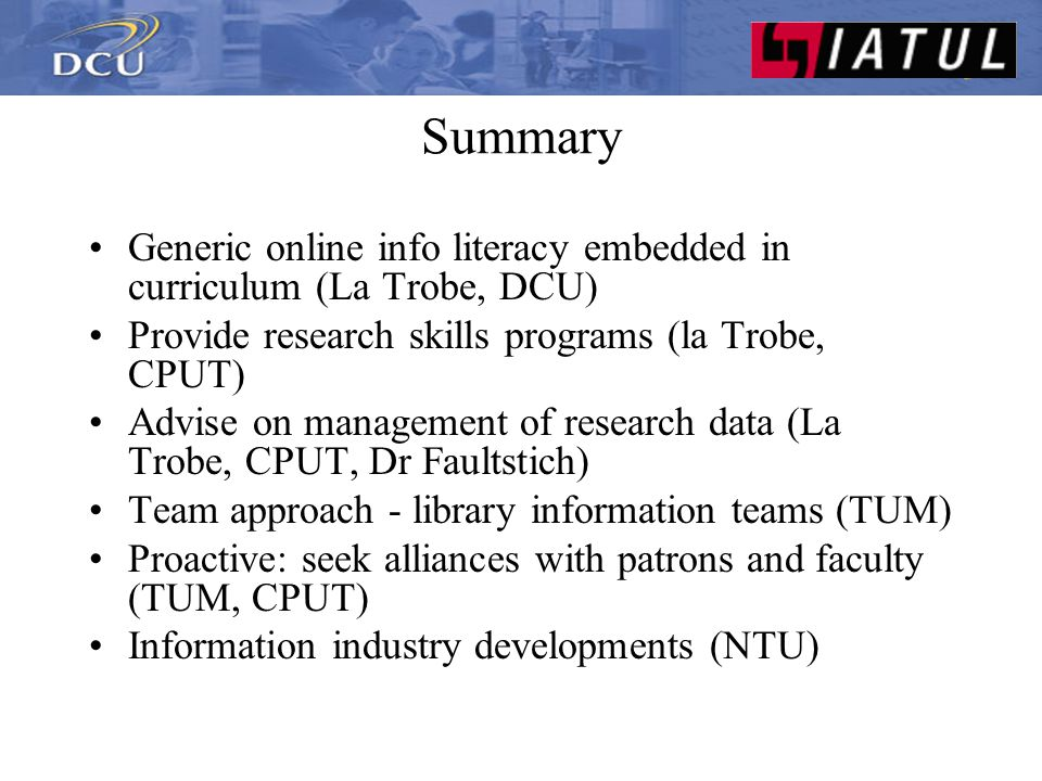 Summary What are the key competencies for information librarians.