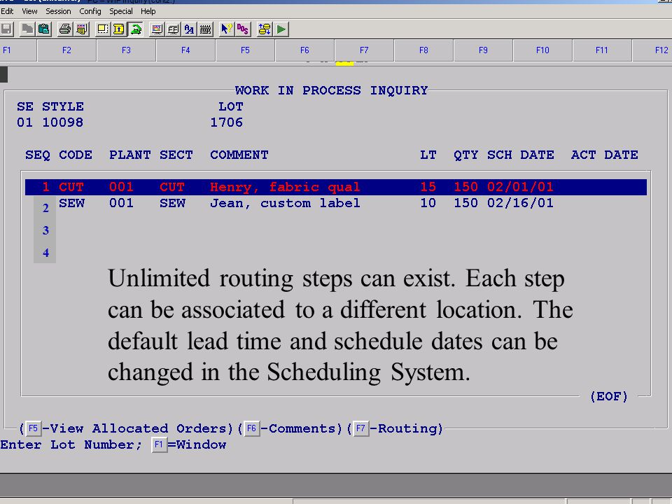 Accelerated Computer Technologies PC – WIP Inquiry (cont2.) Unlimited routing steps can exist. Each step can be associated to a different location. Th