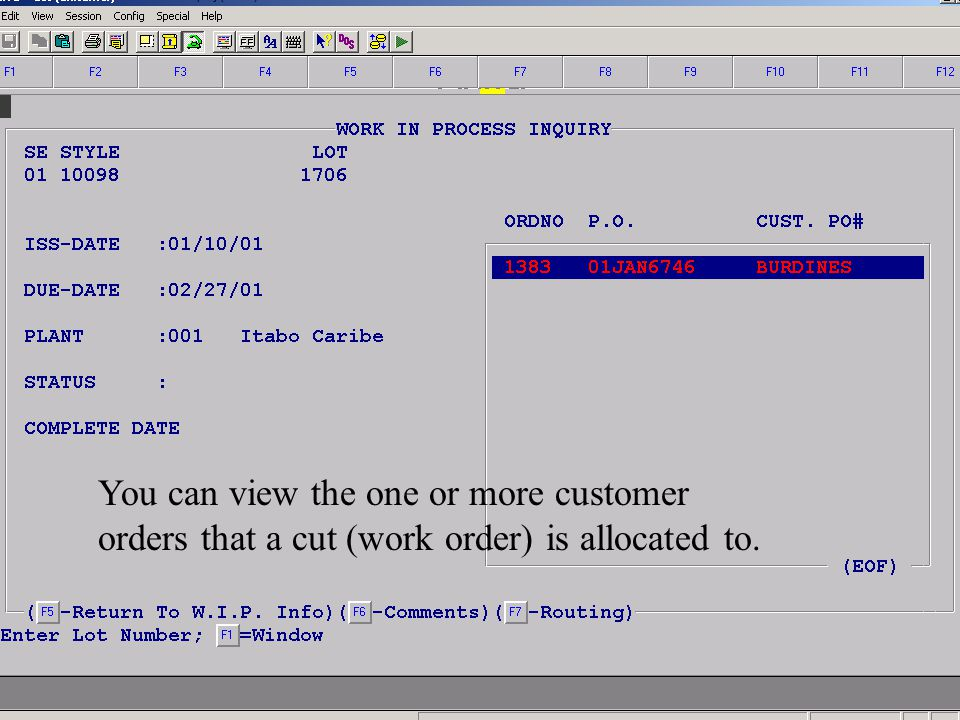 Accelerated Computer Technologies PC – WIP Inquiry (cont4.) You can view the one or more customer orders that a cut (work order) is allocated to.
