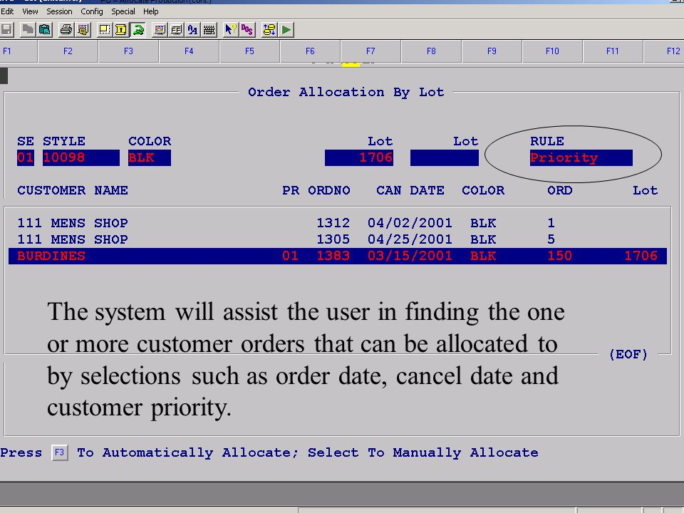 Accelerated Computer Technologies PC – Allocate Production (cont.) The system will assist the user in finding the one or more customer orders that can