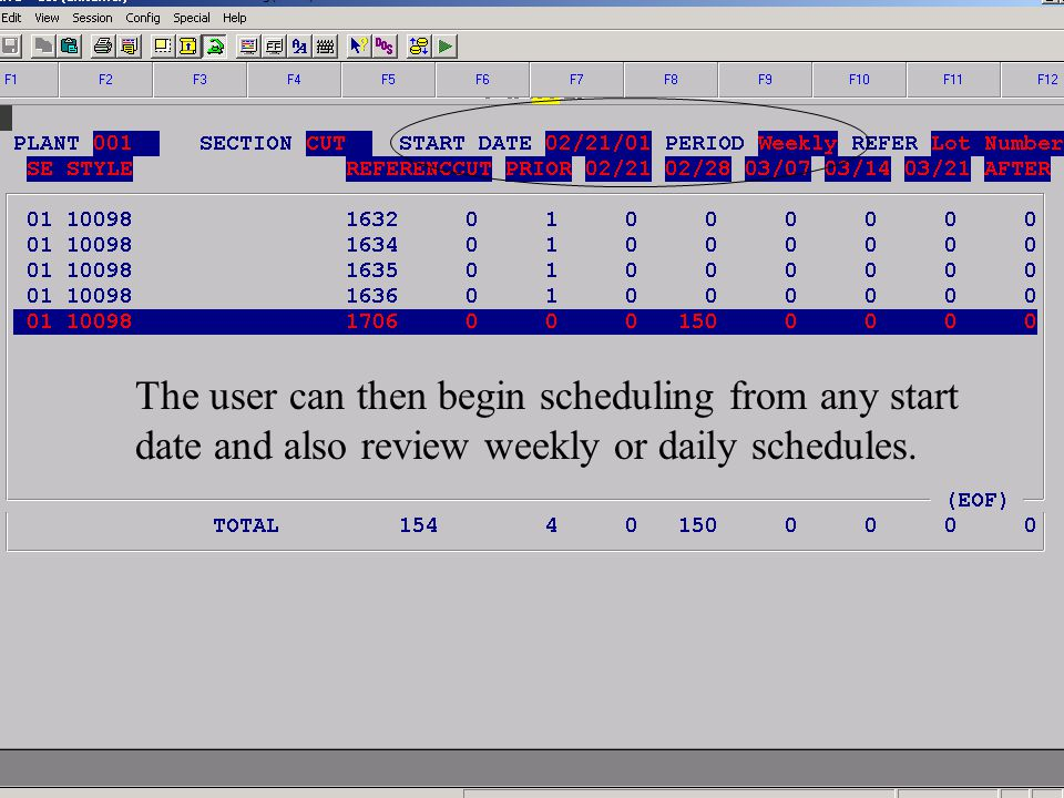 Accelerated Computer Technologies PC – Plant Scheduling (cont4.) The user can then begin scheduling from any start date and also review weekly or daily schedules.