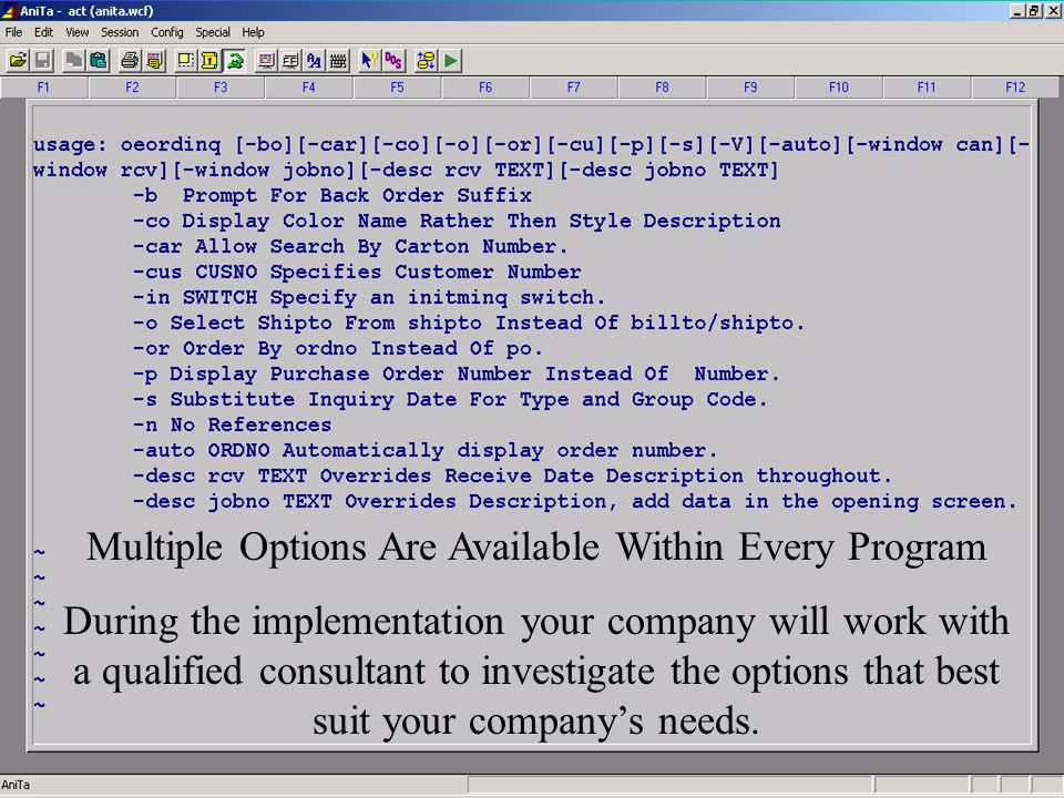 Accelerated Computer Technologies Program Options Available Multiple Options Are Available Within Every Program During the implementation your company