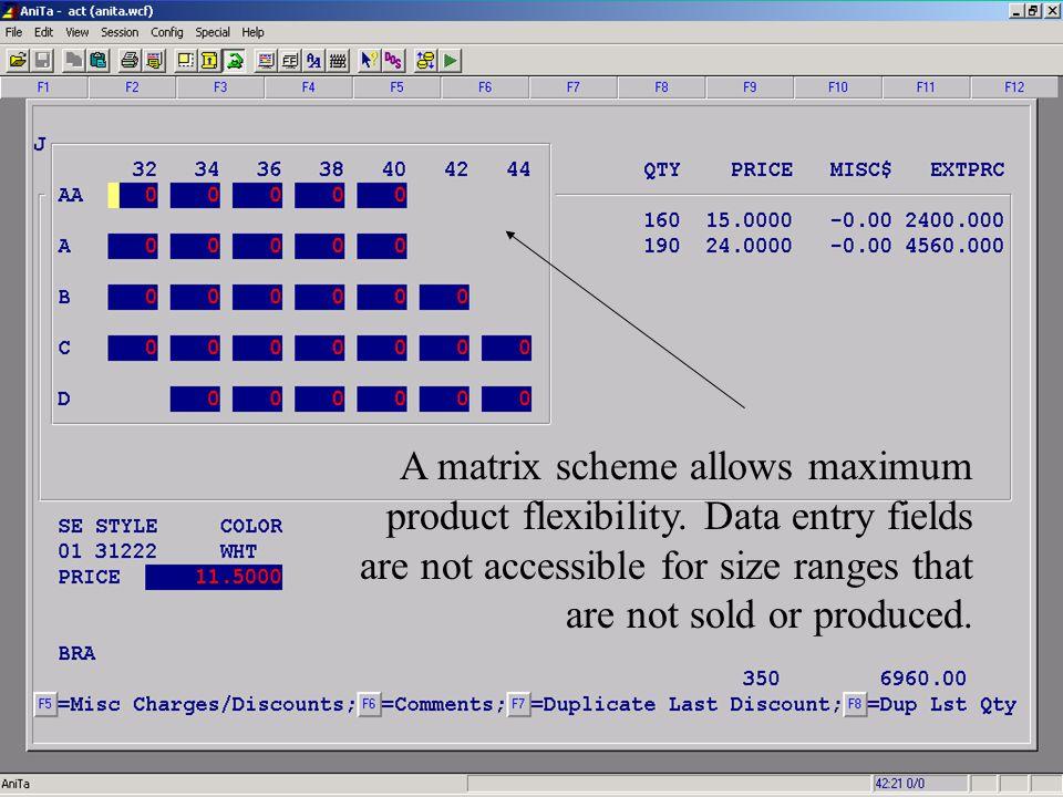 Accelerated Computer Technologies OP - Enter New Order (Detail, matrix size ranges cont2.) A matrix scheme allows maximum product flexibility.