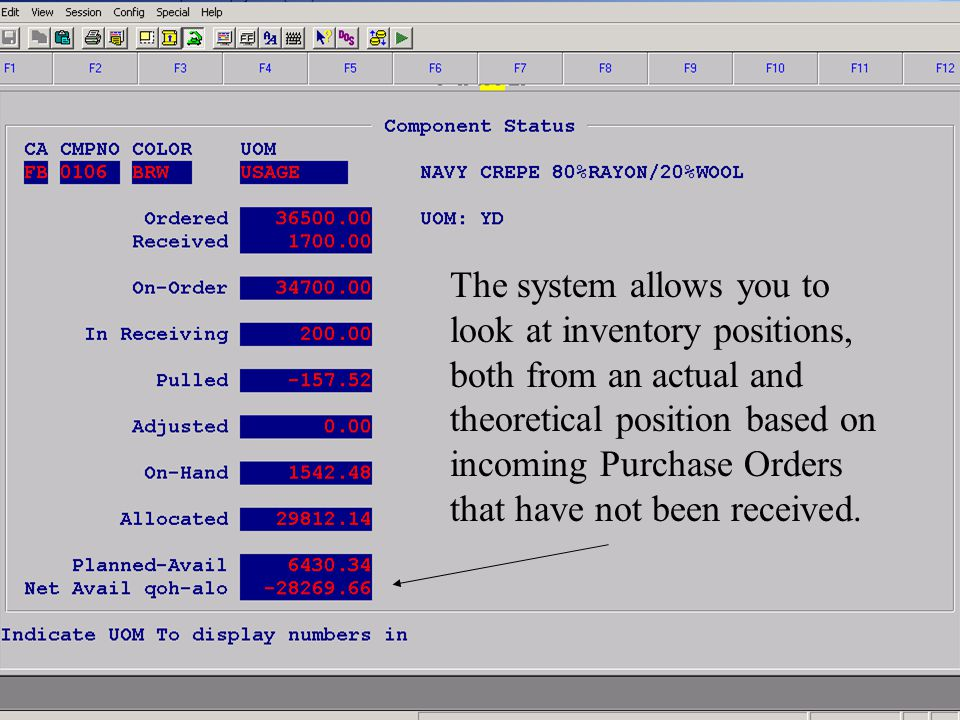 Accelerated Computer Technologies IN – Component Inquiry Totals (cont.) The system allows you to look at inventory positions, both from an actual and theoretical position based on incoming Purchase Orders that have not been received.