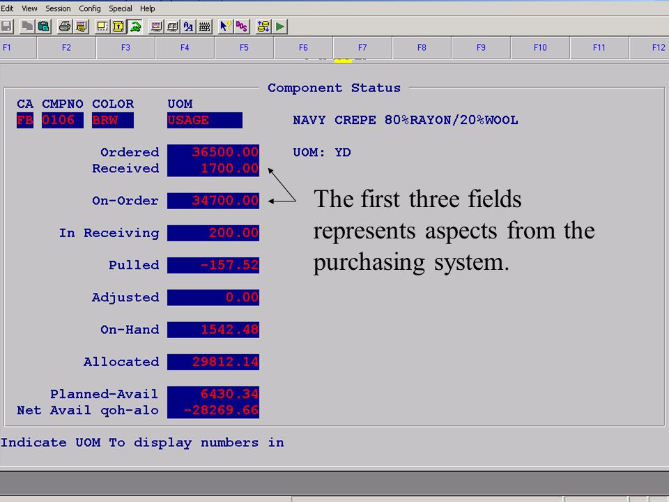 Accelerated Computer Technologies IN – Component Inquiry Totals (cont2.) The first three fields represents aspects from the purchasing system.