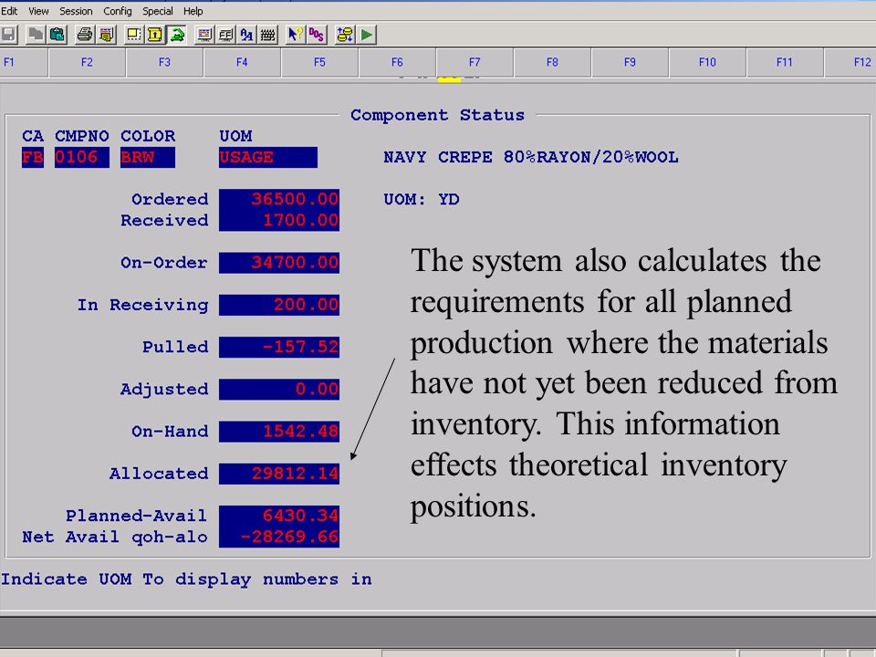 Accelerated Computer Technologies IN – Component Inquiry Totals (cont6.) The system also calculates the requirements for all planned production where