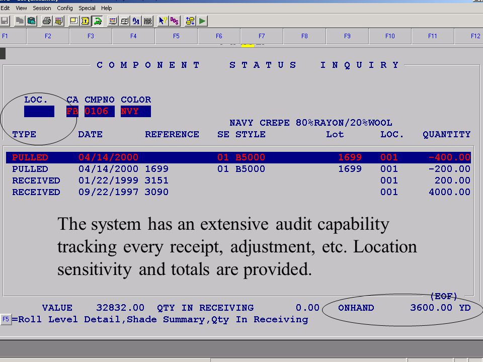 Accelerated Computer Technologies IN – Component Inquiry Detail (cont.) The system has an extensive audit capability tracking every receipt, adjustmen