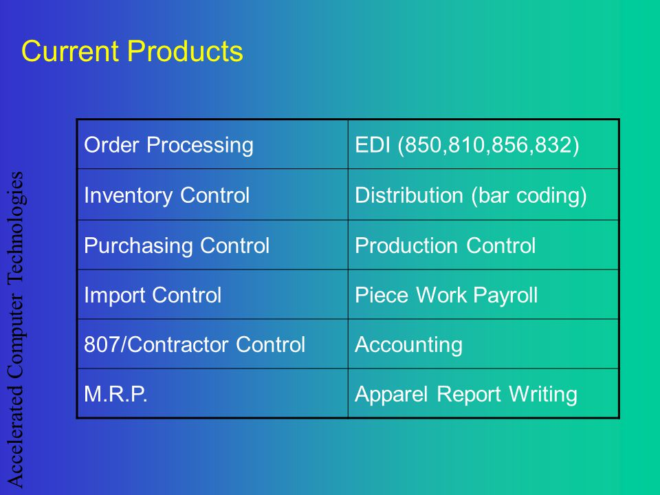Accelerated Computer Technologies Current Products Order ProcessingEDI (850,810,856,832) Inventory ControlDistribution (bar coding) Purchasing Control