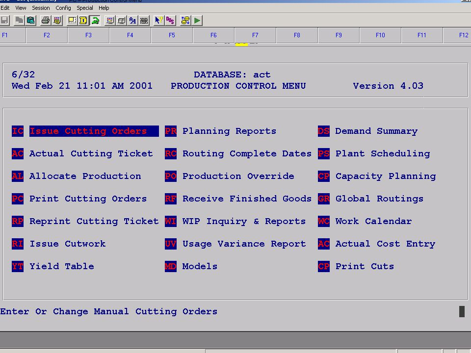 Accelerated Computer Technologies PC – Production Control Menu