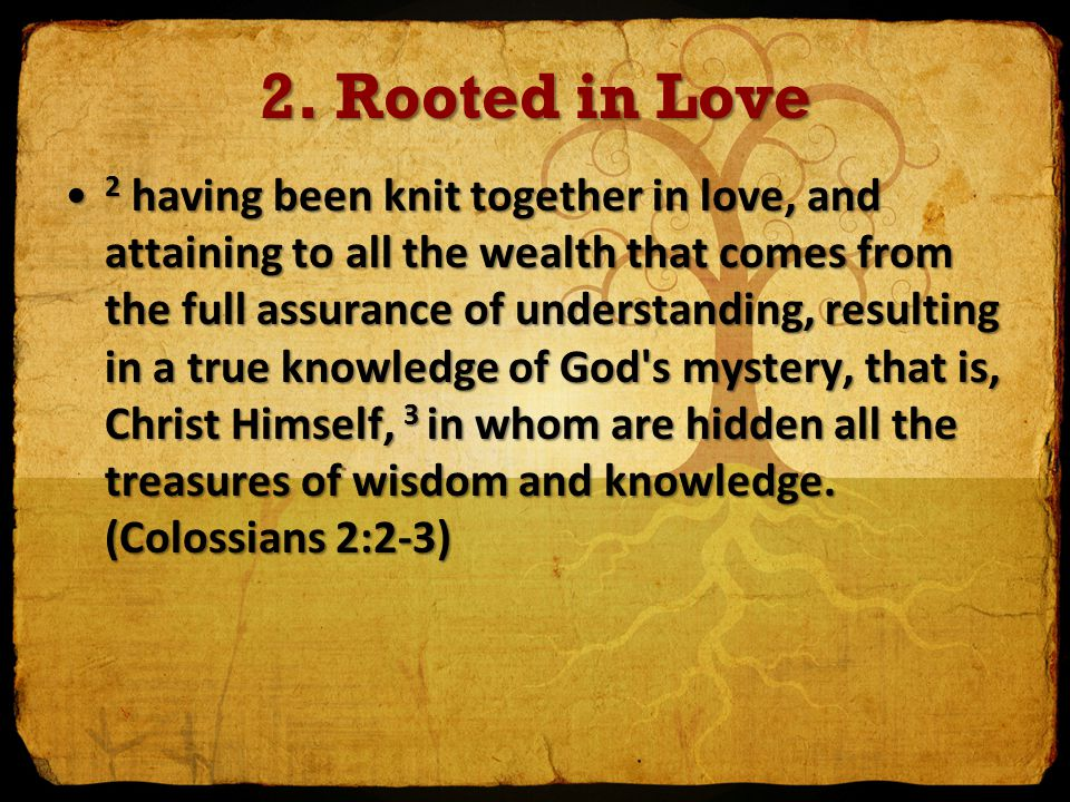 2. Rooted in Love 2 having been knit together in love, and attaining to all the wealth that comes from the full assurance of understanding, resulting