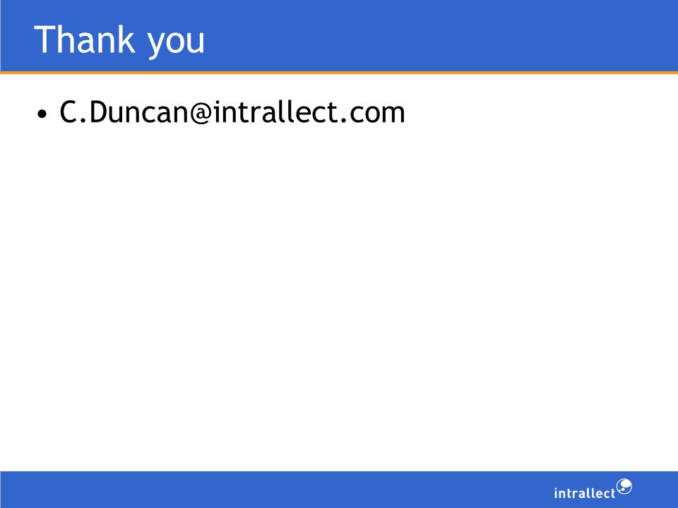 Thank you C.Duncan@intrallect.com