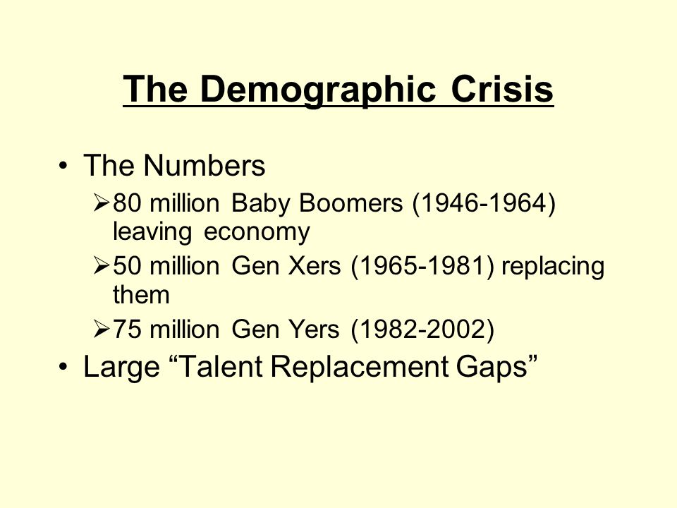 The Demographic Crisis The Numbers  80 million Baby Boomers (1946-1964) leaving economy  50 million Gen Xers (1965-1981) replacing them  75 million