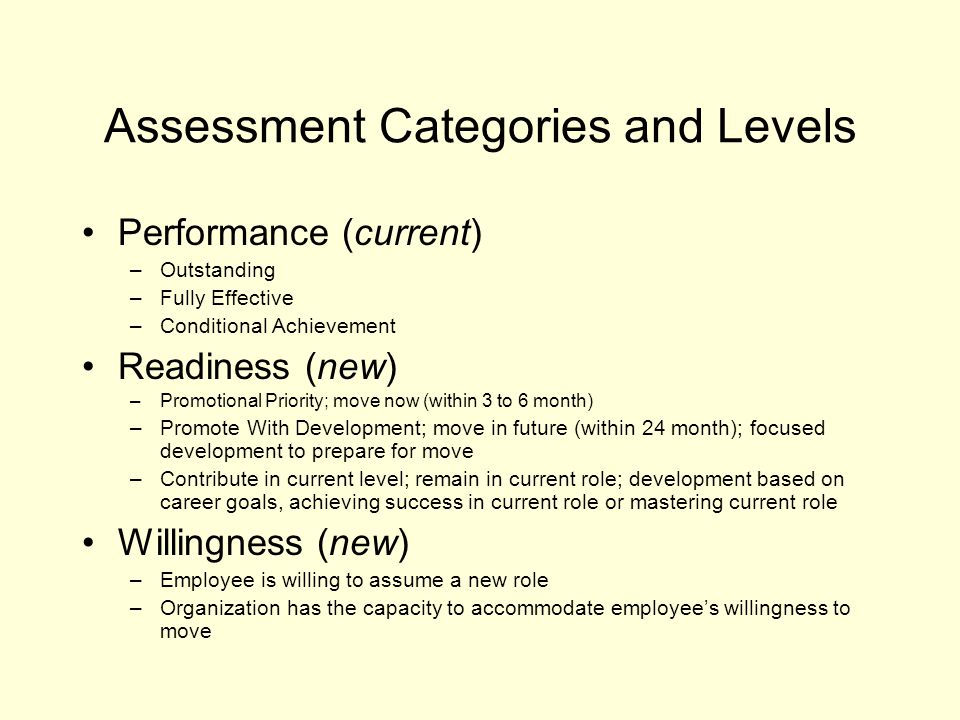Assessment Categories and Levels Performance (current) –Outstanding –Fully Effective –Conditional Achievement Readiness (new) –Promotional Priority; m