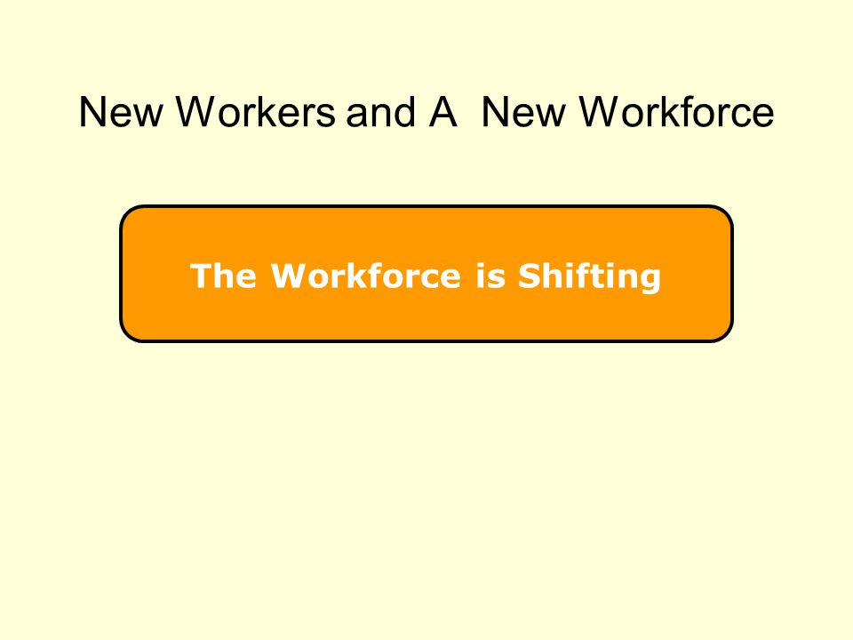 The Workforce is Shifting New Workers and A New Workforce