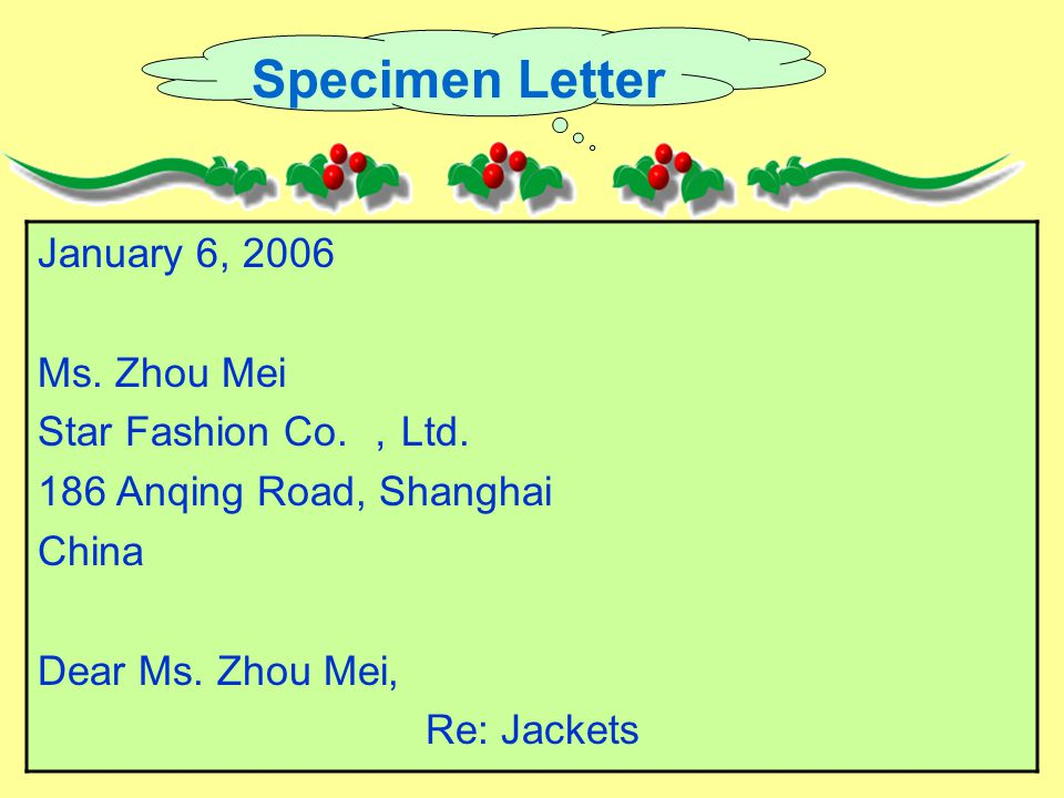Specimen Letter January 6, 2006 Ms. Zhou Mei Star Fashion Co.