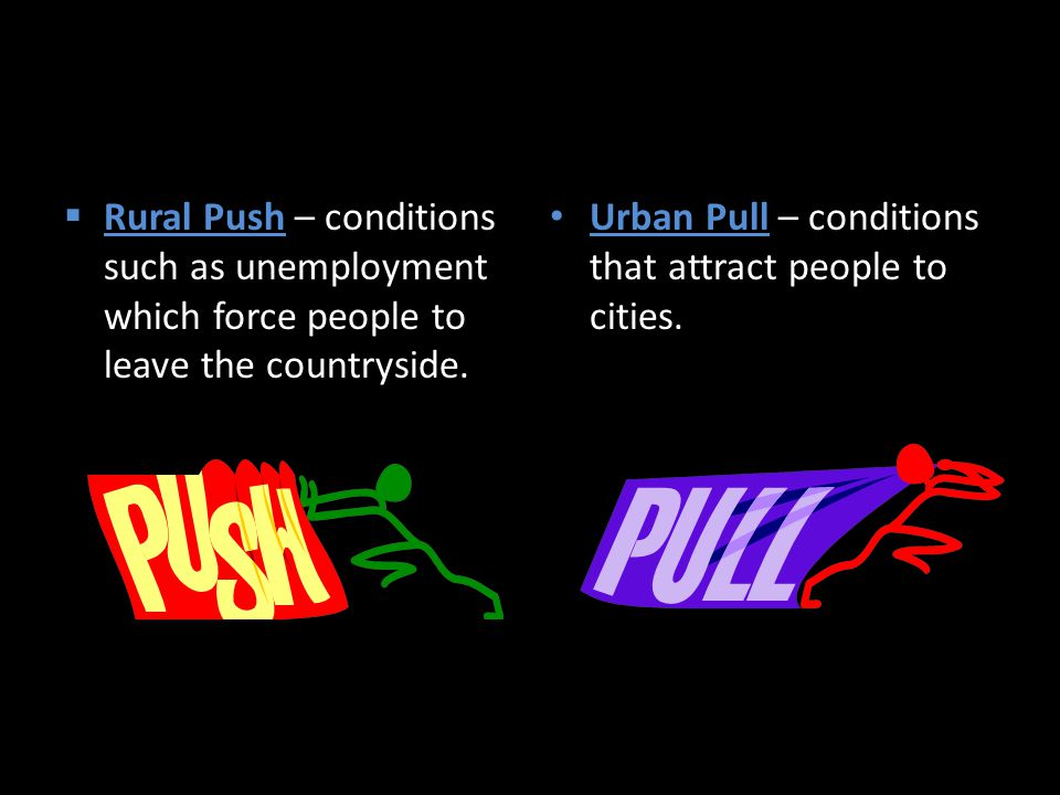  Rural Push – conditions such as unemployment which force people to leave the countryside.
