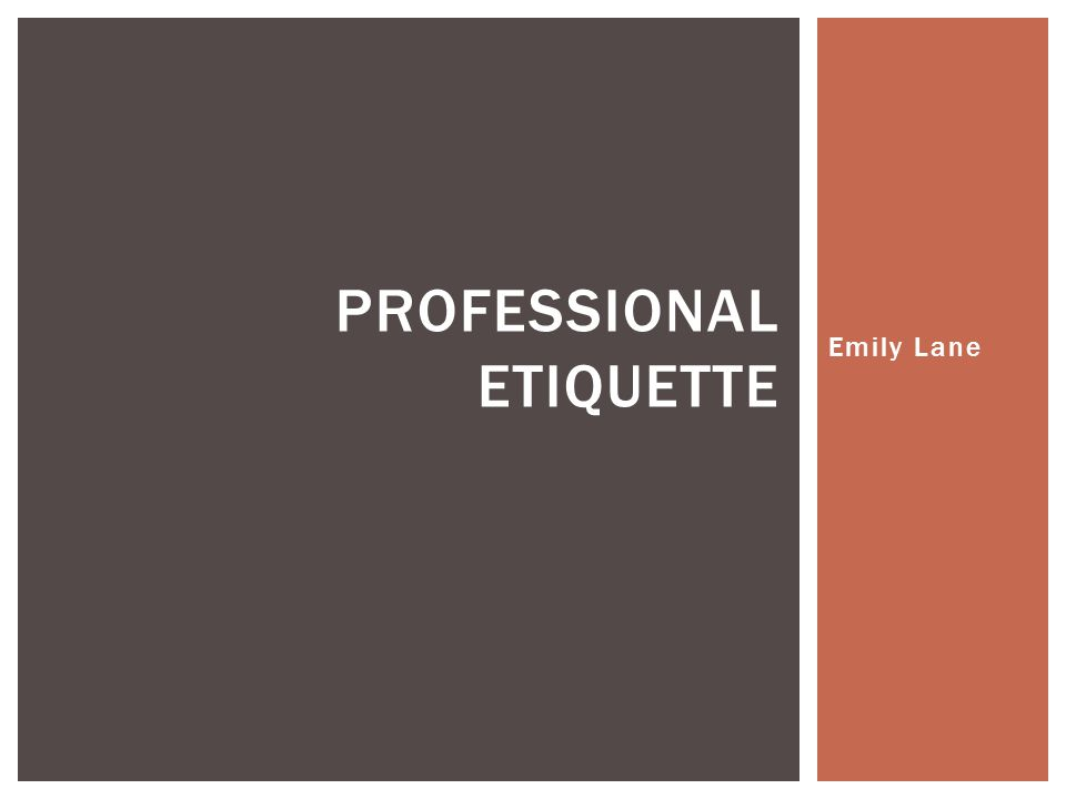 Emily Lane PROFESSIONAL ETIQUETTE