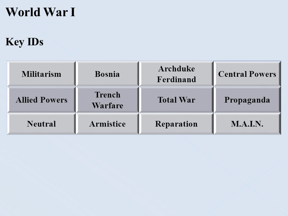 World War I Causes:  Nationalism – Early 1900s, aggressive nationalism was a source of tension throughout Europe  Germany and France  Strong in both nations  Germany now unified and proud of its growing military and industrial growth  France was looking to regain its position as a leading European power  Lost the Franco-Prussian War in 1871; wanted revenge  Lost the provinces of Alsace and Lorraine