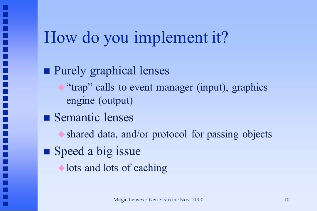 Magic Lenses - Ken Fishkin - Nov.200010 How do you implement it.