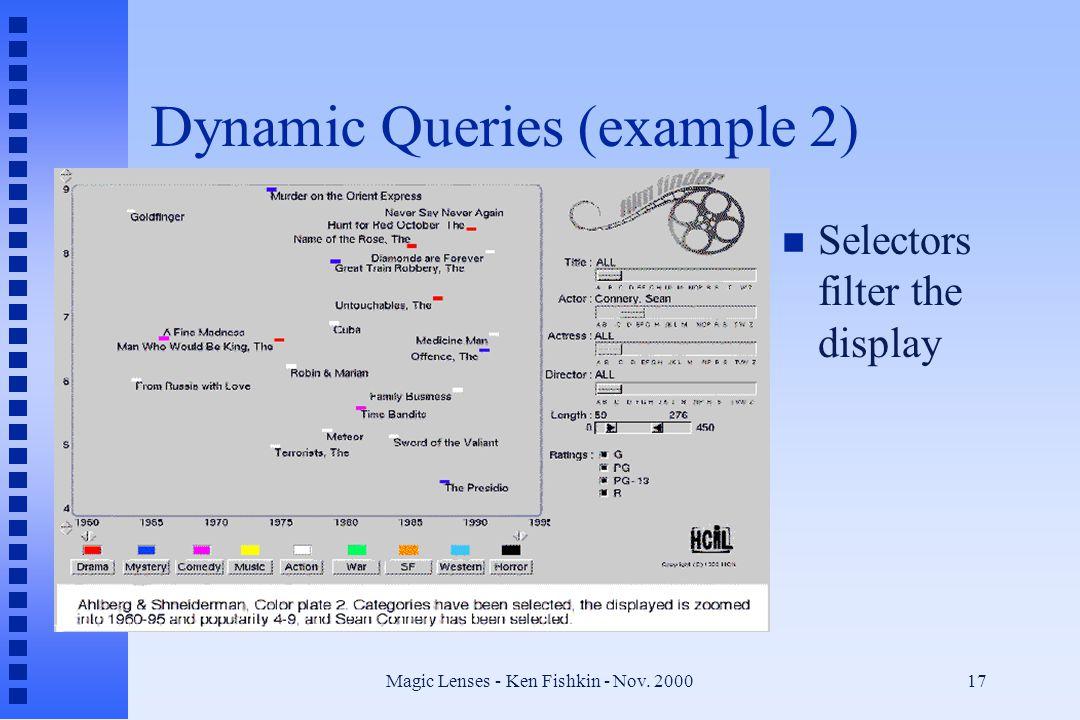 Magic Lenses - Ken Fishkin - Nov. 200017 Dynamic Queries (example 2) n Selectors filter the display