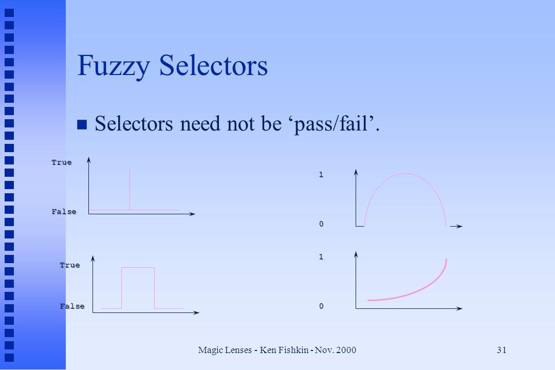 Magic Lenses - Ken Fishkin - Nov.200031 Fuzzy Selectors n Selectors need not be 'pass/fail'.