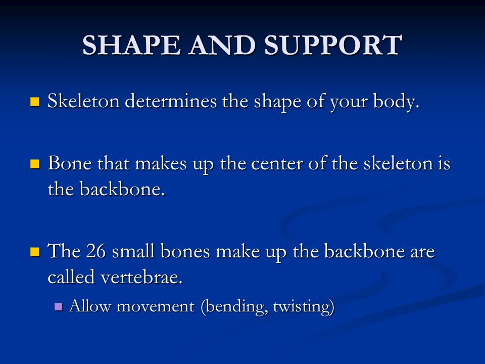 FOUR TYPES OF MOVABLE JOINTS Joint Kind of Motion Where it's found in the body Hinge Forward or backward motion Knees and Elbows Ball and socket Allows bones to swing in a circle Shoulders and Hips Pivot Gliding