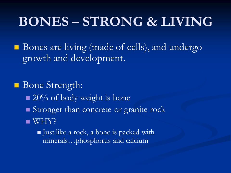 BONES – STRONG & LIVING Bones are living (made of cells), and undergo growth and development. Bone Strength: 20% of body weight is bone Stronger than