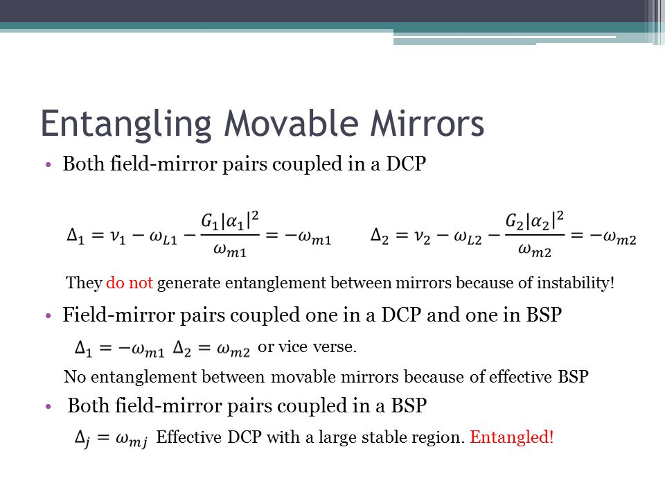 Entangling Movable Mirrors Both field-mirror pairs coupled in a DCP Field-mirror pairs coupled one in a DCP and one in BSP or vice verse. No entanglem