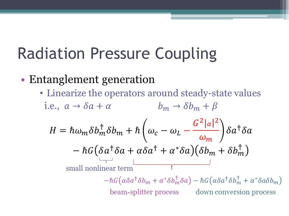 Radiation Pressure Coupling small nonlinear term down conversion process beam-splitter process