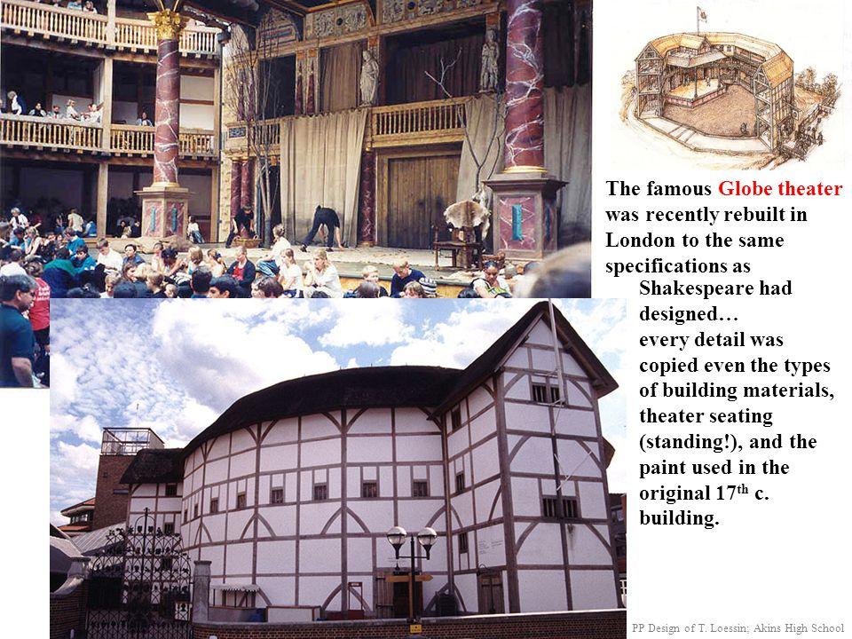 The famous Globe theater was recently rebuilt in London to the same specifications as Shakespeare had designed… every detail was copied even the types