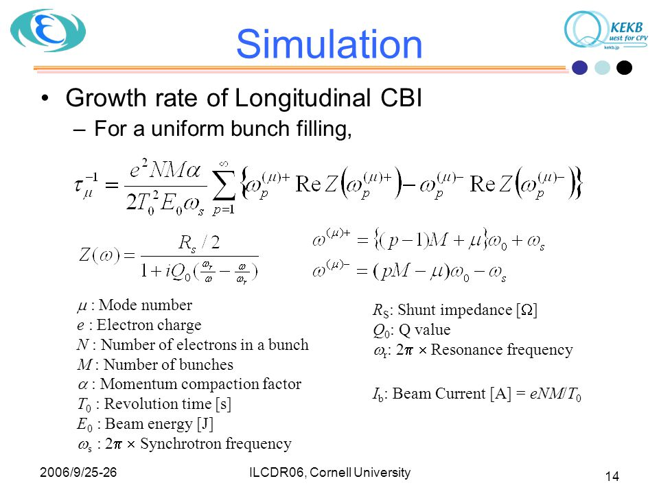 2006/9/25-26 ILCDR06, Cornell University 14 Simulation Growth rate of Longitudinal CBI –For a uniform bunch filling,  : Mode number e : Electron char