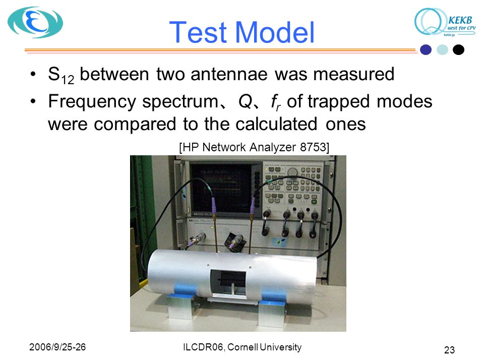 2006/9/25-26 ILCDR06, Cornell University 23 Test Model S 12 between two antennae was measured Frequency spectrum 、 Q 、 f r of trapped modes were compared to the calculated ones [HP Network Analyzer 8753]