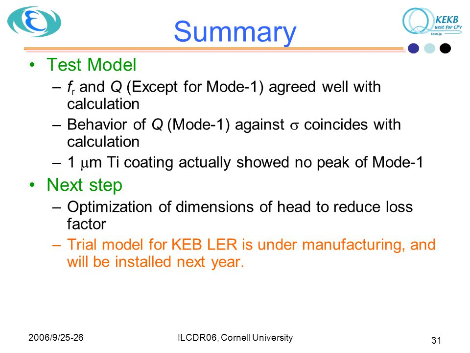 2006/9/25-26 ILCDR06, Cornell University 31 Summary Test Model –f r and Q (Except for Mode-1) agreed well with calculation –Behavior of Q (Mode-1) against  coincides with calculation –1  m Ti coating actually showed no peak of Mode-1 Next step –Optimization of dimensions of head to reduce loss factor –Trial model for KEB LER is under manufacturing, and will be installed next year.