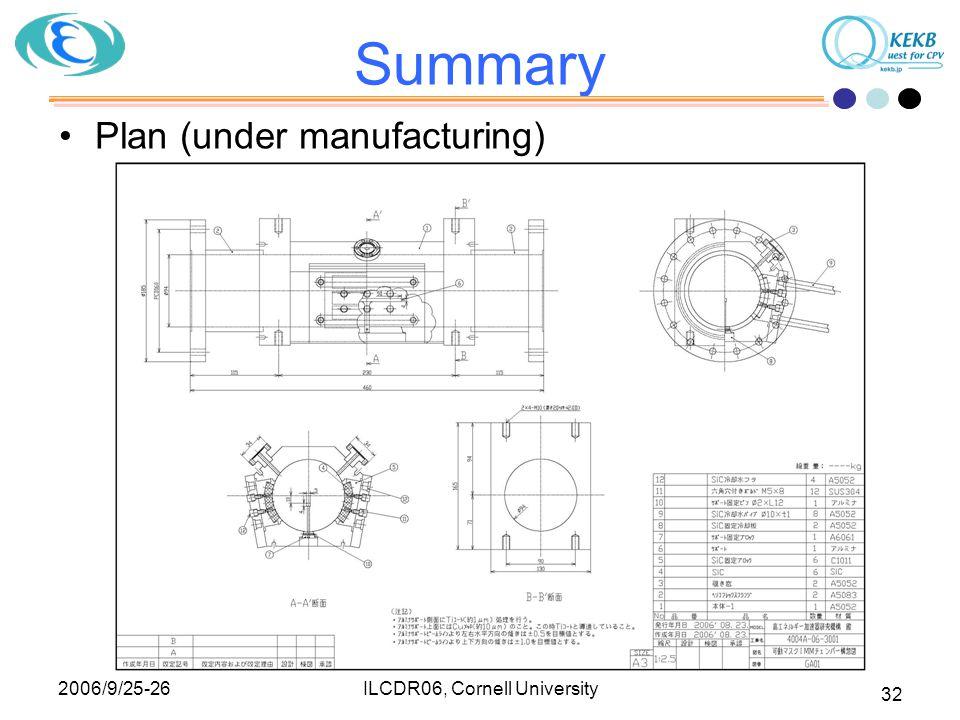2006/9/25-26 ILCDR06, Cornell University 32 Summary Plan (under manufacturing)