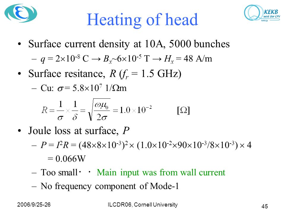 2006/9/25-26 ILCDR06, Cornell University 45 Heating of head Surface current density at 10A, 5000 bunches –q = 2  10 -8 C → B x ~6  10 -5 T → H x = 48 A/m Surface resitance, R (f r = 1.5 GHz)  –Cu:  = 5.8  10 7 1/  m Joule loss at surface, P –P = I 2 R = (48  8  10 -3 ) 2  (1.0  10 -2  90  10 -3 /8  10 -3 )  4 = 0.066W –Too small ・・ Main input was from wall current –No frequency component of Mode-1